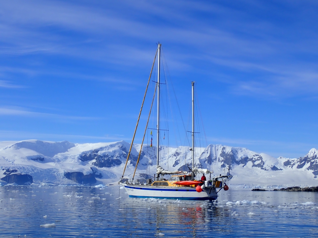 Ocean Tramp at anchor in Antarctica